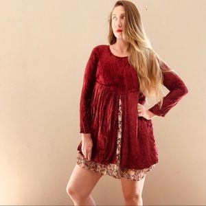 Vintage 90s Crushed Velvet Baby Doll Mini Dress